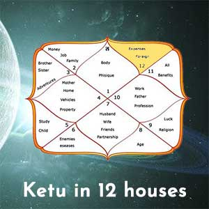 Ketu in 12 houses