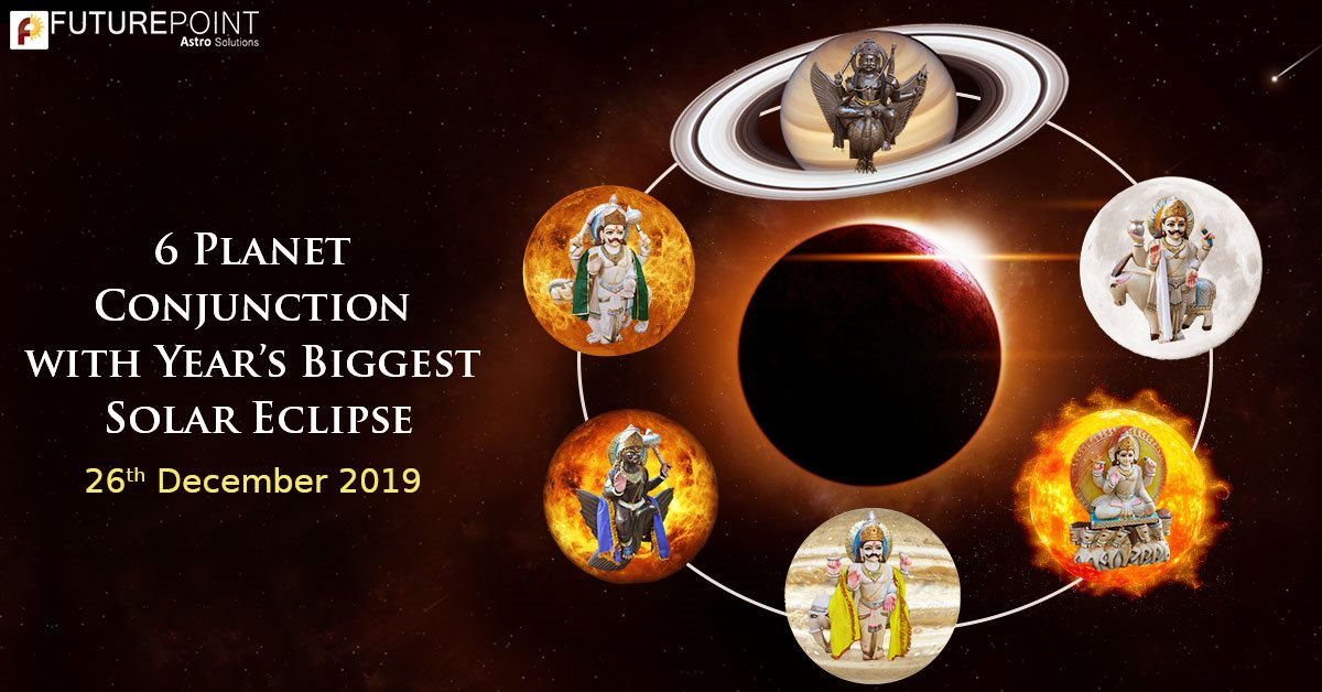 6 Planet Conjunction with Year's Biggest Solar Eclipse: 26th December 2019