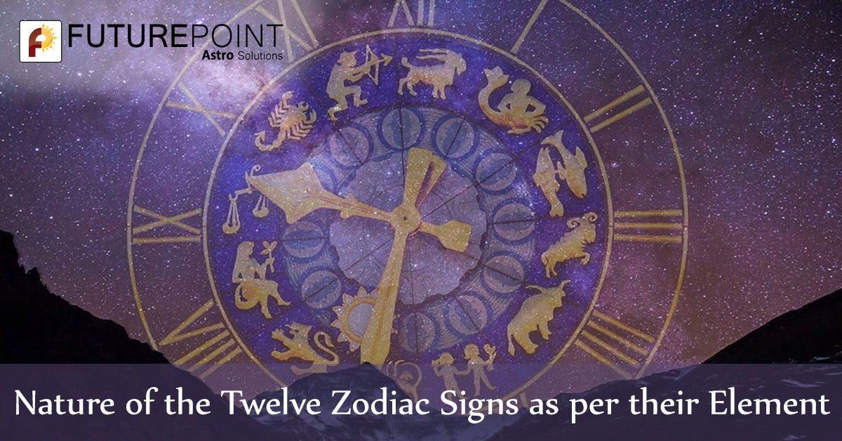 Nature of the Twelve Zodiac Signs as per their Element